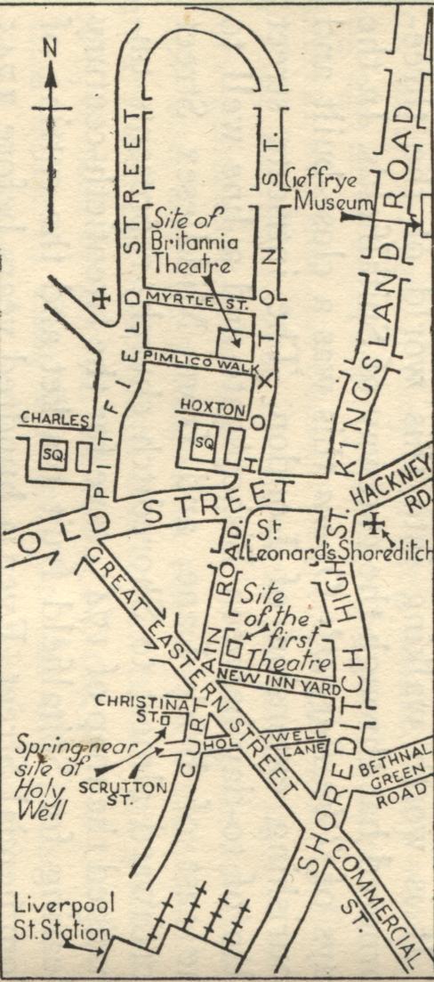 London Map Shoreditch Area: Quakers Around Shoreditch And Life Around Bunhill